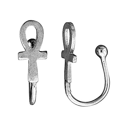 Small Sterling Silver Ankh Nose Ring/Ear cuff Non-Pierced (one piece) 1/2 inch