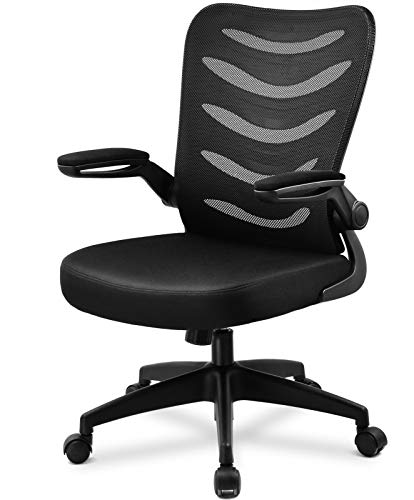 Office Chair Ergonomic Desk Computer Chair Mesh Computer Chair with Flip Up Arms Lumbar Support and Mid Back Black
