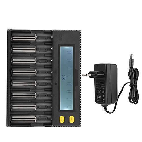 Hakeeta Intelligente oplader, universele lader, snellader, lithium-batterij-oplader met 8 sleuven, LCD-display, USB-uitgang, voeding voor Li-Ion Ni-MH NICd.