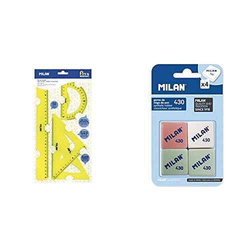 Milan Kit de trazado con regla 30cm, escuadra, cartabón y transportador, amarillo NUEVO + BMM9215 - Pack de 4 gomas de borrar