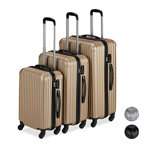 Relaxdays Luggage Set of 3, 4 Wheels, Hard Shell Suitcase, Telescopic Handle, TSA Lock, S/M/L, Champagne Colour, PP, rubber
