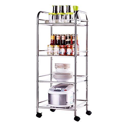 Horno microondas carro móvil estante de acero inoxidable estante de cocina estante de utensilios de cocina estante para cubiertos soporte moderno 40 cm 4