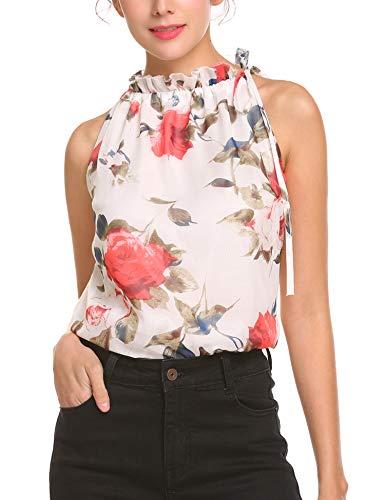 Meaneor Damen Mädchen Druckbluse Sommerbluse Chiffon Shirtbluse Rüschenbluse Ärmellos Blusentop mit Blumenaufdruck