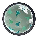 Juego de 4 pomos de armario de cocina de 3,18 cm, pomos de cristal para cajones con kit de herramientas para muebles de dormitorio, cocina, diseño de aviones de combate, color verde