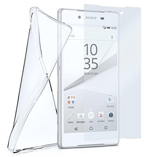 moex Silikon-Hülle für Sony Xperia Z5   + Panzerglas Set [360 Grad] Glas Schutz-Folie mit Back-Cover Transparent Handy-Hülle Sony Xperia Z 5 Hülle Slim Schutzhülle Panzerfolie