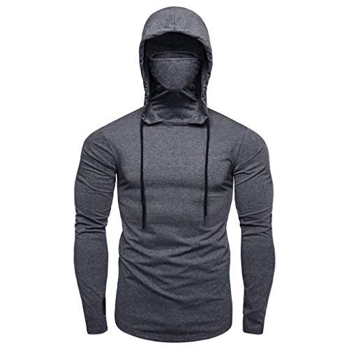 LONUPAZZ Hoodie à Capuche Hommes Sweat-Shirts Musculation Fitness Slim Automne Pullover Sportswear (Asian M, Gris)