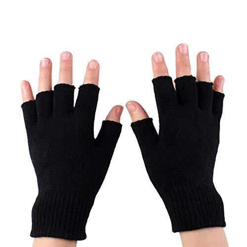 Upstore 1 par de guantes de invierno cálidos sin dedos elásticos de punto para mujeres y hombres, color negro