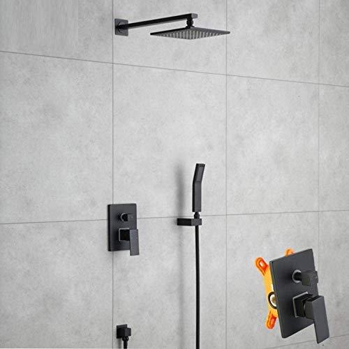 Zwarte Messing Wandmontage Douche Set Regendouche Plafondmontage Douchekraan Wandmontage Douche Plafond Set van Draagbare Sprays voor warme en Koude Mixers