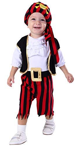 MOMBEBE COSLAND Baby Jungen Pirat Kostüme Set (Rot, 12-18 Monate)