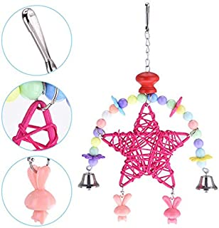 Bird Toys - Toys Heart Shape Star Wind Chimes Cute Swing Shelf Toy Pet Bird Parrot Hanging Pink Rose - Sale Grey Cats Seagrass Toys Perches Leather Multipack Cockatiels Disco Parakeet Parts To