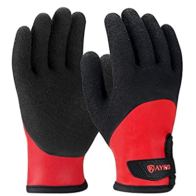 Waterproof Work Gloves Insulated - KG140W, Insulated Work Gloves with Acrylic thermal Lining and Double Dipped Latex Coated Crinkle Grip on Full Hand (1, Large)