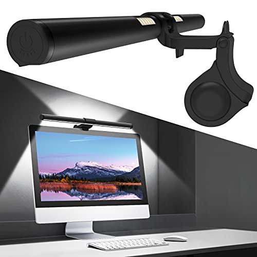 OOWOLF Computer Monitor Lampe, Duale Lichts Original Design USB Bildschirmlampe, e-Reading Lampe 41cm stufenlos dimmbare Helligkeiten 3 Farbton, Augenpflege, Kein Bildschirm Blendung Flimmern
