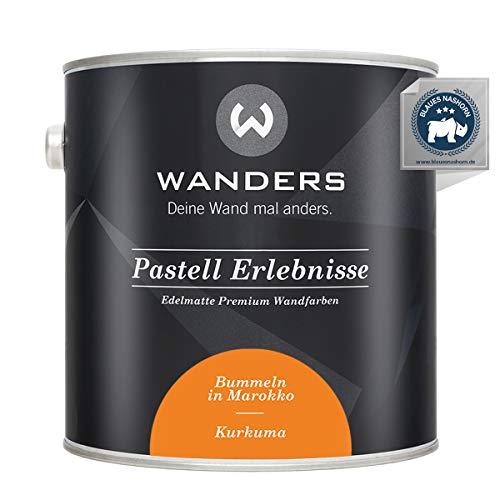 Wanders24® Pastell Erlebnisse (2,5 Liter, Kurkuma) edelmatte Wandfarbe - Feine Farben - in 40 Farbtönen - Wandfarbe Grau - Made in Germany