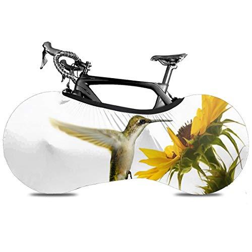 Gato rezando portátil cubierta de bicicleta interior anti polvo de alta elasticidad de la rueda de la cubierta protectora de la bicicleta Rip Stop neumático carretera mtb bolsa de almacenamiento, Colibrí Girasol, talla única