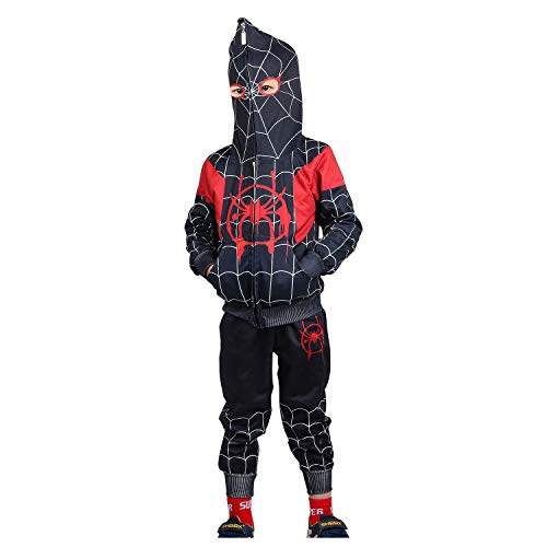 Jungen Spiderman Hoodie Cosplay Kostüm Reißverschluss Pullover Trainingsanzug Mantel Hose Geschenke für Kinder, Schwarzer Spiderman Hoodie 02, 110 / 3-4 Jahre