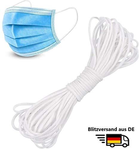 Cordali® 10 Meter weiß elastische Gummikordel 3mm, Gummiband Rund, Schnur, Elastikkordel 3mm zum Nähen