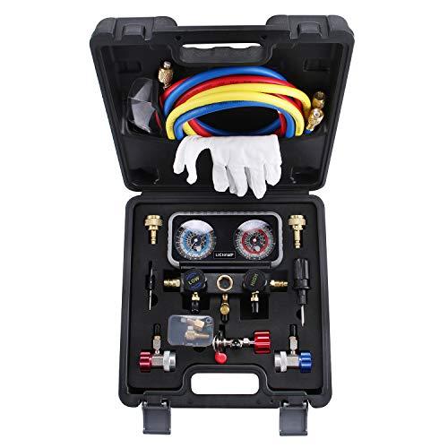 Lichamp AC R1234YF R134A Gauge Set, Automotive Manifold Gauge Compatible with R1234YF R134A and R404A Refrigerants, Works on Car Freon Charging and Evacuation