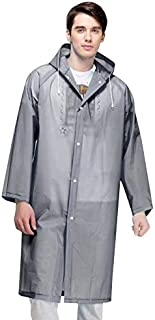 JVSISM Fashion Men and Women Eva Transparent Raincoat Portable Outdoor Travel Raincoat Waterproof Camping Hooded Poncho Gray
