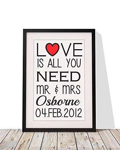 Personalised Framed Print With Mount | 'Love Is All You Need' Wall Art Frame | Anniversary Wedding Valentine Day Gift for Him, Her, Couple, Girlfriend, Boyfriend, Husband, Wife | 12 x 10 Inch | Black