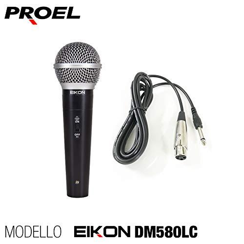 PROEL EIKON DM580LC - Microfono dinamico cardioide switch on/off per voce, canto, karaoke