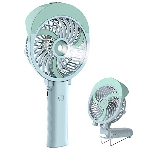 HandFan Portable Handheld Misting Fan with 55ml Water Tank Rechargeable Personal Cooling Fan Mister Humidifier USB/Battery Operated Water Spray Mist Fan 180° Foldable 3 Speeds Strong Wind for Make-up Travel Outdoors Car Disney Land