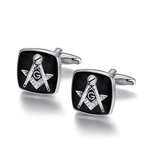 BOBIJOO Jewelry - Paire de Boutons de Manchette Franc-Maçon Loge Forme Carrée Equerre Compas G 17mm