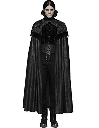 Punk Rave Capa noble gótica para hombre hermosa Vintage Jacquard Stand Collar Halloween Vampiro Largo Capa