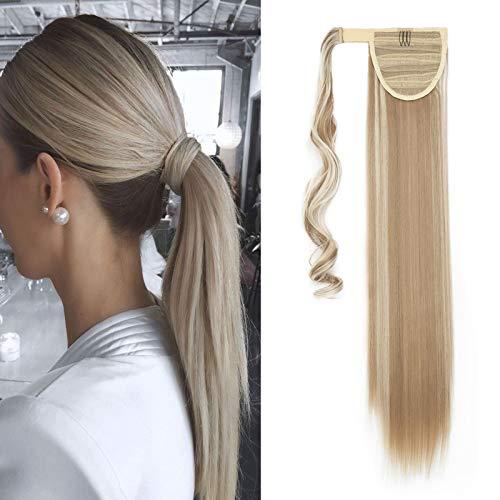 Hair Extensions Wrap on Ponytail Extension Capelli Veri Coda di Cavallo Parrucchino Ombre 58cm Dritto Biondo sabbia & Candeggina bionda