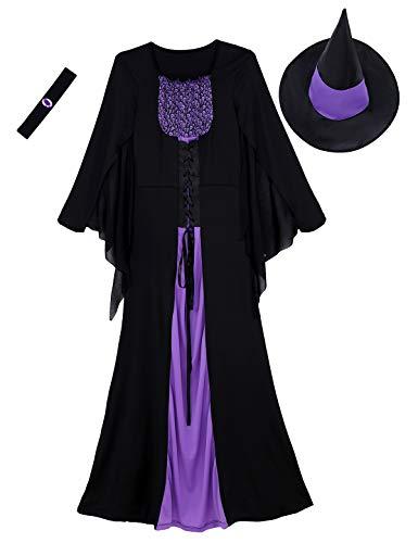 Agoky 3er Set Damen Böse Hexen Kostüm Cosplay Halloween Outfits Langarm Maxikleid Schnür Kleider mit Spitzen Hut und Halskette Schwarz&Lila Small