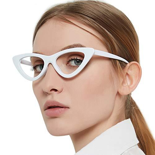 MARE AZZURO Cateye Computer Reading Glasses Women Screen Readers 0 1.00 1.50 2.00 2.50 3.00 3.50 (White, 350)