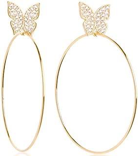 Women Fashion Jewelry Crystal Cubic Zirconia Statement Butterfly Hoop Earrings
