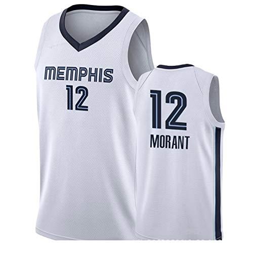ZLWJ Camiseta para Hombre, Memphis Grizzlies # 12 Ja Morant Uniforme De Baloncesto Malla De Baloncesto Swing Camiseta Uso Diario Y Torneo De Balonces B-S