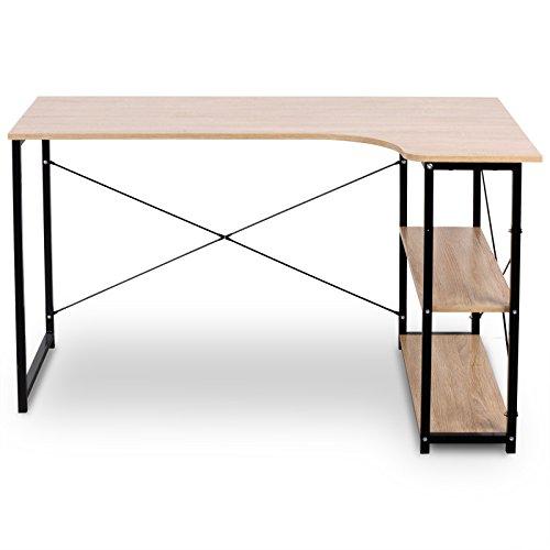 eSituro SCD0035 Schreibtisch PC Tisch Esstisch Bürotisch Arbeitstisch mit Ablage Holz Stahl Hell Eiche