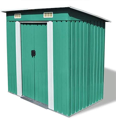 ZRB Baule da Giardino, Metal Garden Storage Capannone con 2 Prese d'Aria, Strumenti per Il Cortile Esterno Sheds Utility Organizer con Doppia Ante Bloccabili Green 74.8'X48.8 x71.3,Multibox