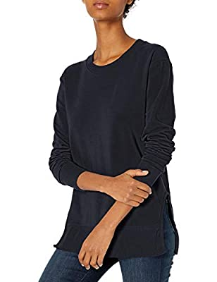 Amazon Brand - Daily Ritual Women's Terry Cotton and Modal Pullover with Side Cutouts, Navy , Large by Daily Ritual