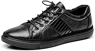 FYXKHj Men's Sports Black Casual Shoes England Style Low-top Elastic Band lace-up Sneakers