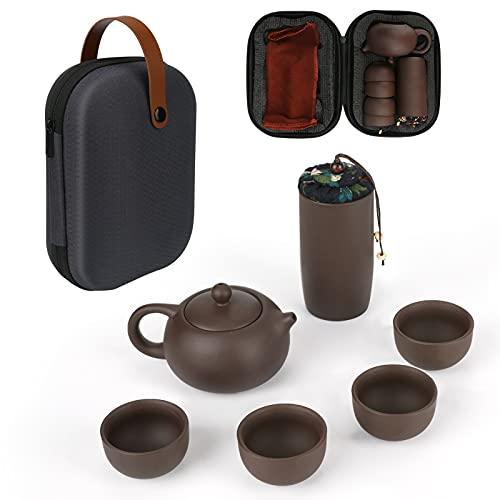 WIOR Juego de té portátil, tetera de cerámica hecha a mano con funda, juego de té Kung Fu, set de tetera pequeña con 4 tazas de té, lata de té y paño de cocina con una bolsa de viaje portátil