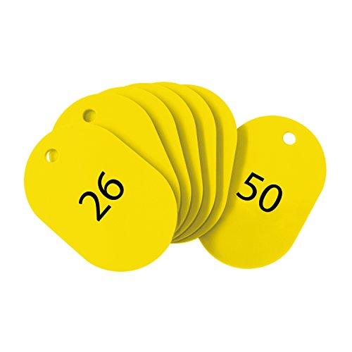 オープン工業 番号札 大 黄 25枚 26-50番 セット BF-51-YE