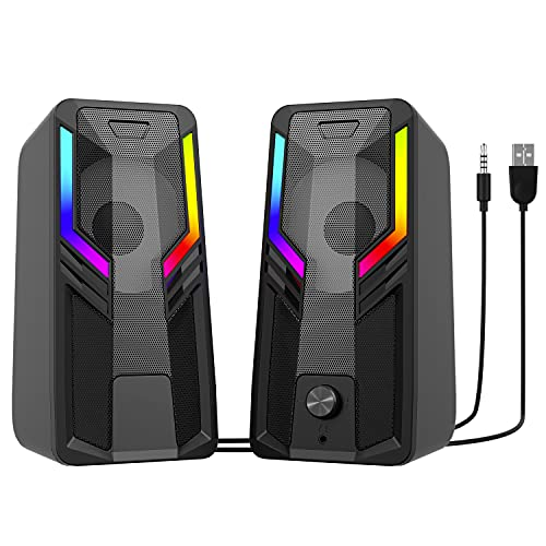 SUDOTACK Gaming Computer Speakers, 10W USB-Powered Stereo Multimedia Speakers, with RGB Touch Control Backlit, 5 LED Light Modes, 3.5MM Headphone Jack, for Desktop PC Laptop Monitor Projectors TVs