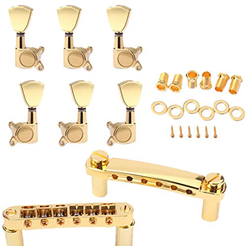 Fltaheroo un Set de Cuerda de Oro SillíN Tune-O-Matic Puente y Cordal para Guitarra EléCtrica Gb Lp Estilo