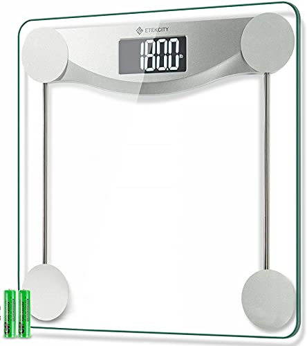 Etekcity Digital Weight Bathroom Scale, 6mm Tempered Glass Platform with Rounded Corner Design, Large Backlit LCD Display, Silver, 440 Pounds, 4 Piece Set