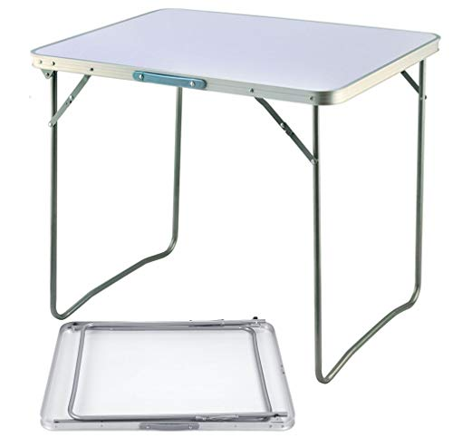 Lucn Folding Camping Table Aluminium Picnic Party Foldable Table Portable Indoor Outdoor Dining Camp Tables Utility BBQ Unfolding Size 80x60x69cm White