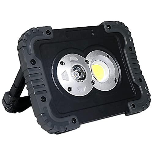 WKZ Foco Led Exterior 20W, Batería De Litio 650LM 4400mAH18650,Foco Proyector Led Recargable Blanco Frío,Portátil LED Luz De Inundación para Acampar Al Aire Libre(Size:20W,Color:Batería)
