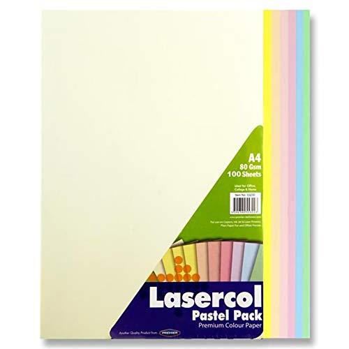 Premier Stationery, fogli di carta colorata, A4, 80 g/mq – colori pastello arcobaleno (confezione da 100 fogli)