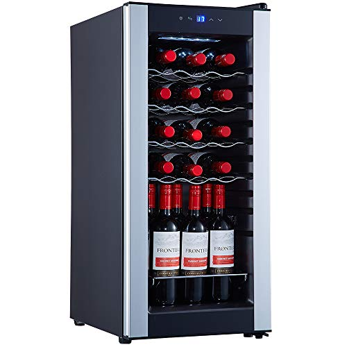 STAIGIS 18 Bottle Wine Cooler Refrigerator – Freestanding Wine Fridge w/ 41-64°F Temperature Stability Function – Compressor Wine Refrigerator for Red, White, Rose and Sparkling Wine – Glass Door Fridge with Slivery Frame
