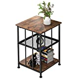 Dulcii Vintage End Table with 3-Tier Storage Shelves for Living Room Bedroom, Square Design Sofa Side Table for Coffee Books Magazines, Sturdy and Easy Assembly, Retro Brown, 15.7 x 15.7 x 24 inch