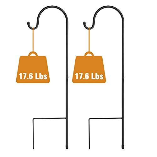 GOFORWILD Shepherd Hook 2 Pack Black, 33 inches Tall, Made of Premium Metal for Bird Feeder Hanger, Garden Decor, Plant Hanger, Lantern Hook, Solar Light Hanging, 7011