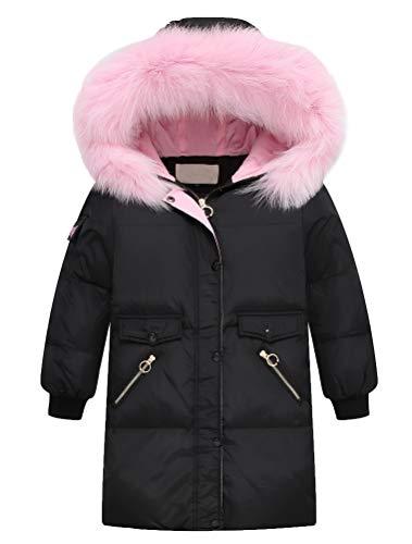 FTCayanz Mädchen Winterjacke Lang Jacken Mantel mit Fellkapuze Winter Daunenjacke Kinder Warm Wintermantel Schwarz 10-11 Jahre/Körpergröße 140-150