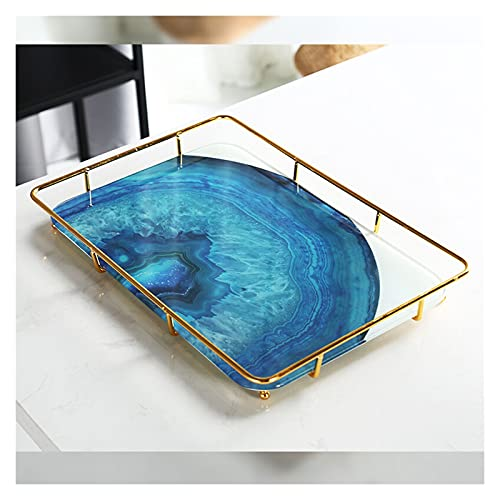 Vassoio di Vanità Gold Trucco Organizzatore Cosmetici Deposito Bagno Organizzatore Controsoffitto Display vanità Vassoio vanità in acciaio inox Scaffale in acciaio inox Stampa in marmo Vassoio in cera