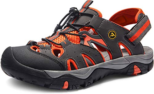 ATIKA Sandalias de senderismo para hombre con sistema de dedos cerrados, ligeras sandalias deportivas adecuadas para caminar, trailing, senderismo, zapatos de agua en verano, color Gris, talla 41 EU